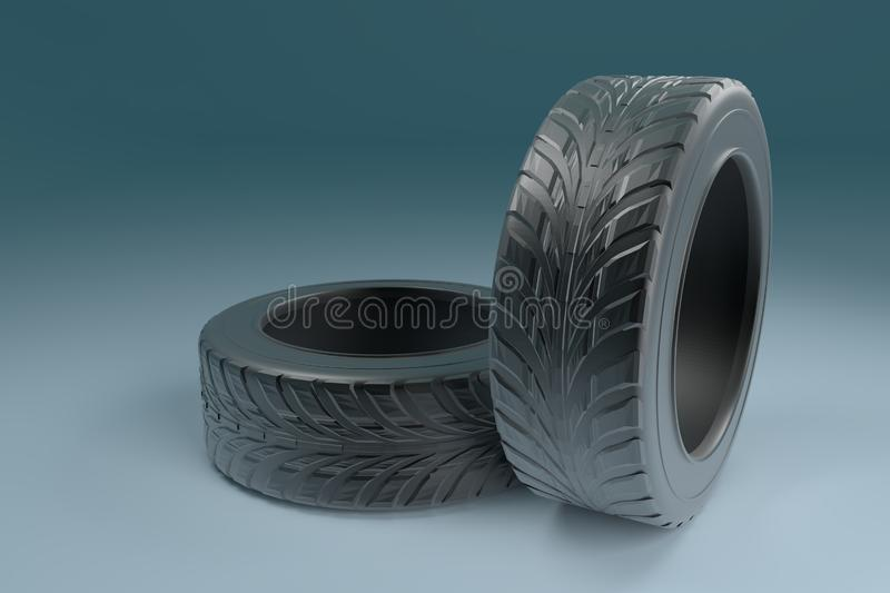 Car wheels tires set on blue background. For banner design poster. 3d realistic car tire illustration stock illustration