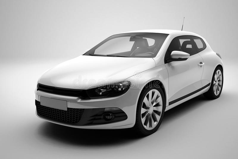 Car white. White car or auto on white background, 3d render in detail vector illustration
