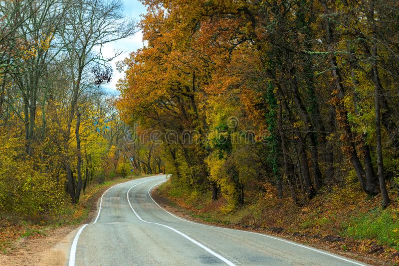 Car winding road in the mountains on an autumn. Afternoon stock images