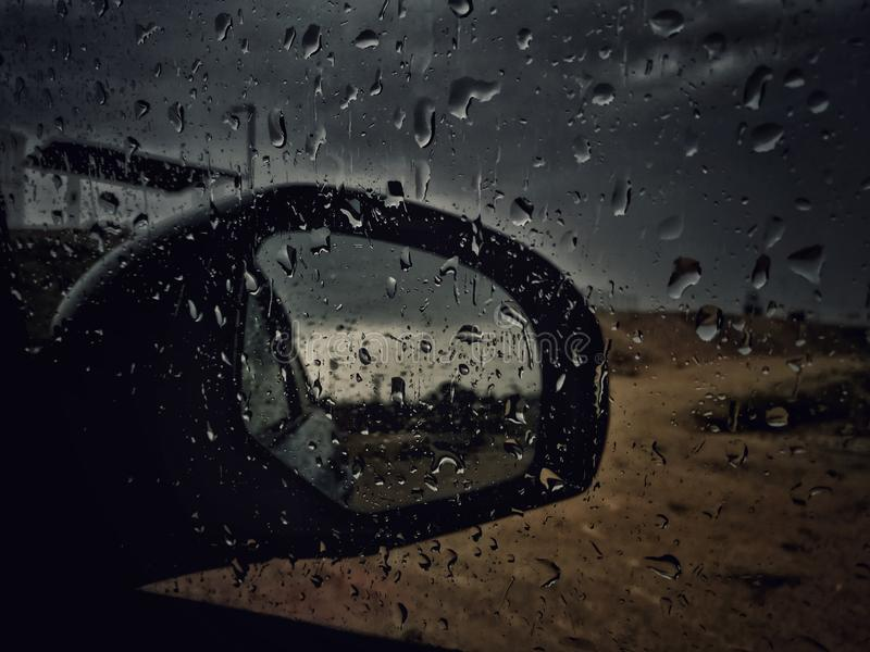 Car Window Panel With Water Droplets stock photos