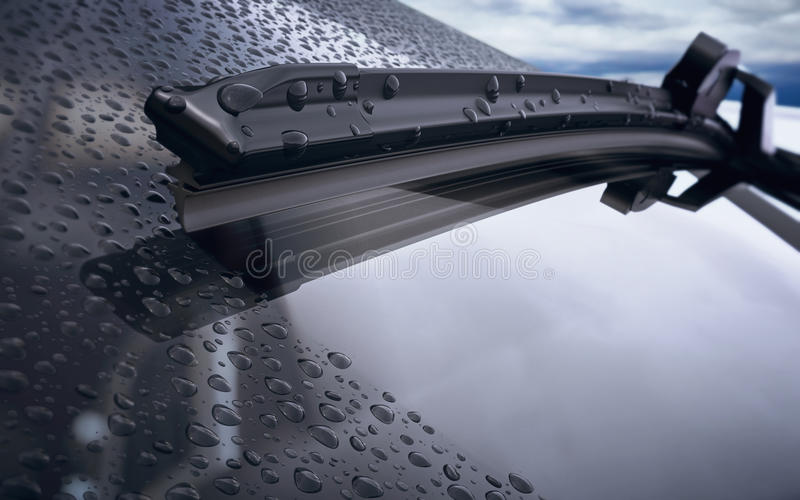 Car windshield with rain drops and frameless wiper blade closeup vector illustration