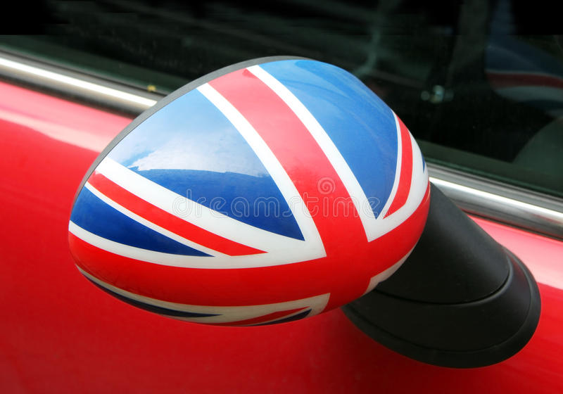 Car Wing Mirror. Union Jack on the car wing mirror. Suitable for an abstract background royalty free stock photo