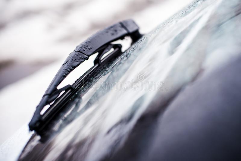 Car wiper blade with shallow depth of field stock photo