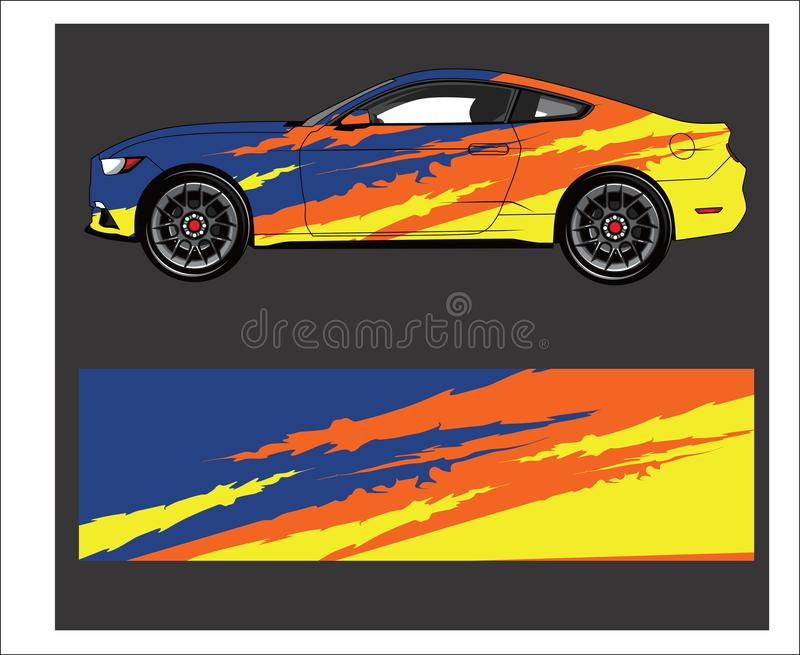 Car wrap. Abstract strip for racing car wrap, sticker, and decal. Car wrap decal. Abstract strip for racing car wrap, sticker, and decal vector illustration