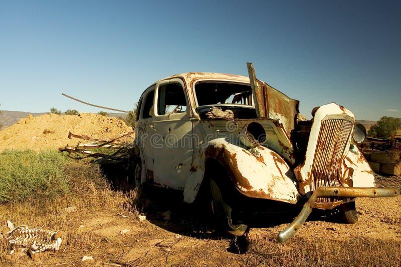 Car Wreck - Australian Outback. Car wreck shot at australian outback stock photos