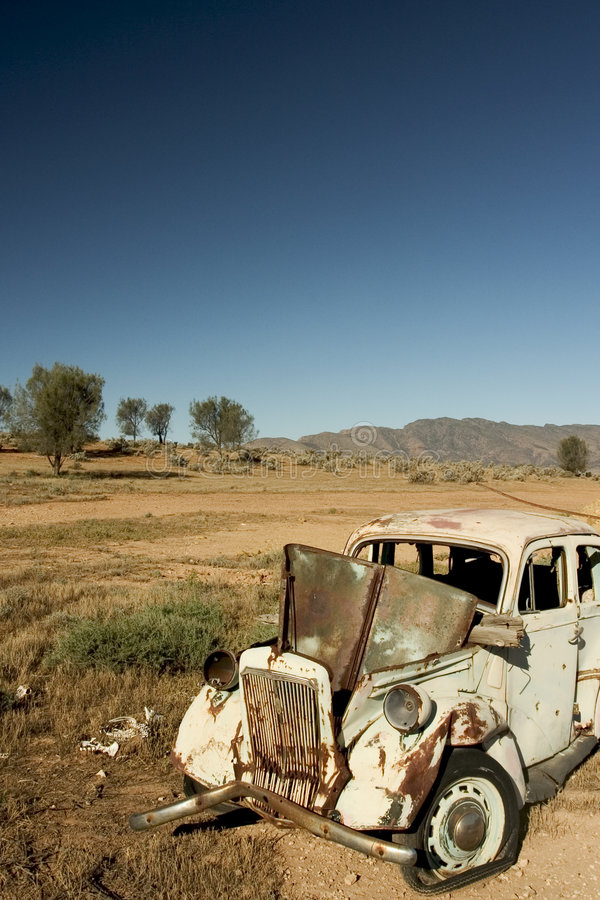 Car Wreck - Australian Outback stock images