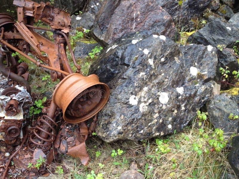 Car wreck Brixham quarry stock photos