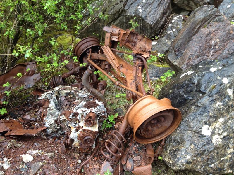 Car wreck close up on wheel stock photo