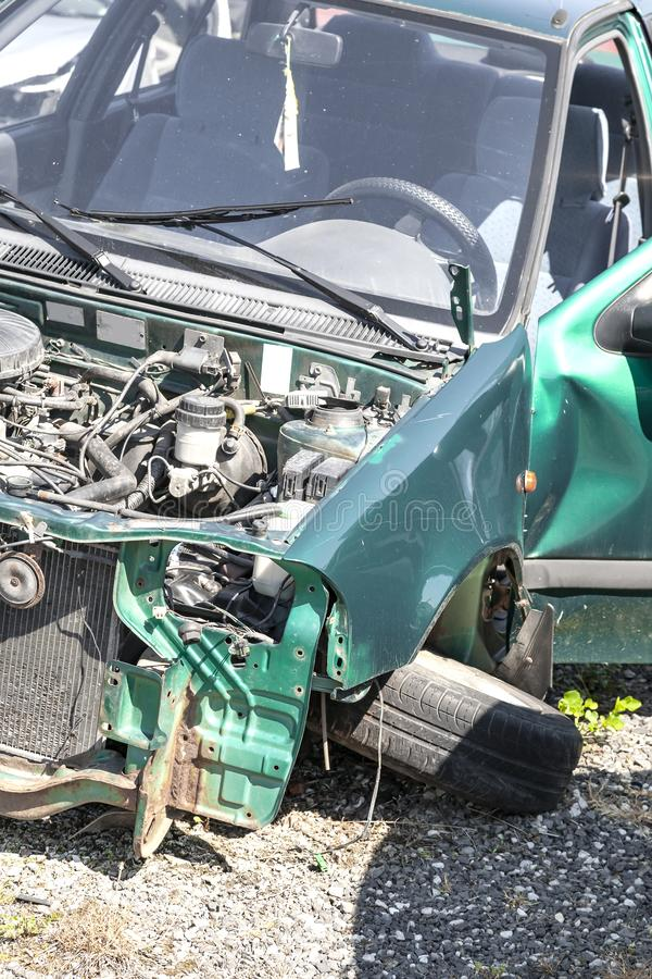 Car wreck demolished after serious crash accident royalty free stock photos