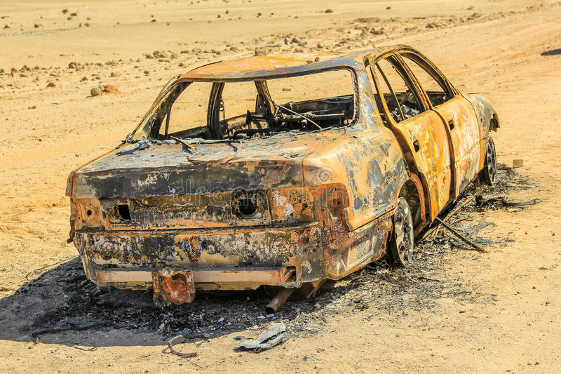 Abandoned burned car royalty free stock photography