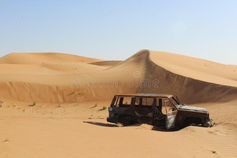 Car Wreck in Desert stock photography