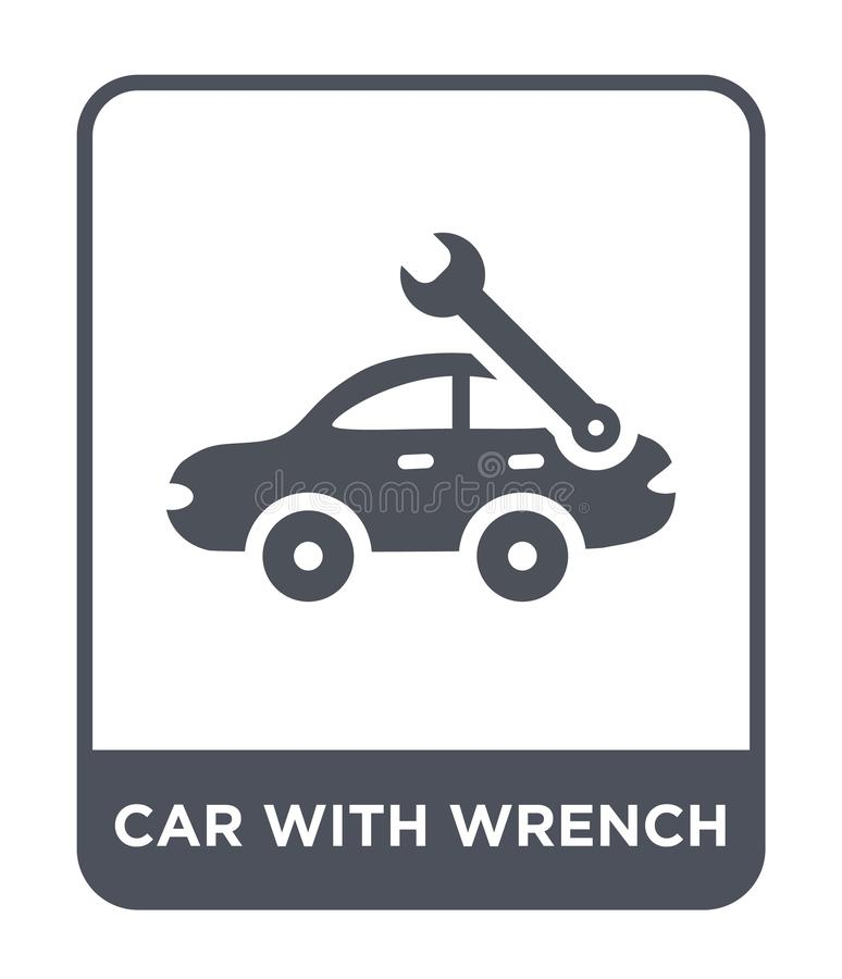 Car with wrench icon in trendy design style. car with wrench icon isolated on white background. car with wrench vector icon simple. And modern flat symbol for royalty free illustration