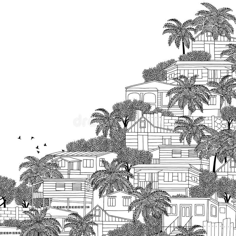 Caraïbisch dorp met houten stelthuizen royalty-vrije illustratie