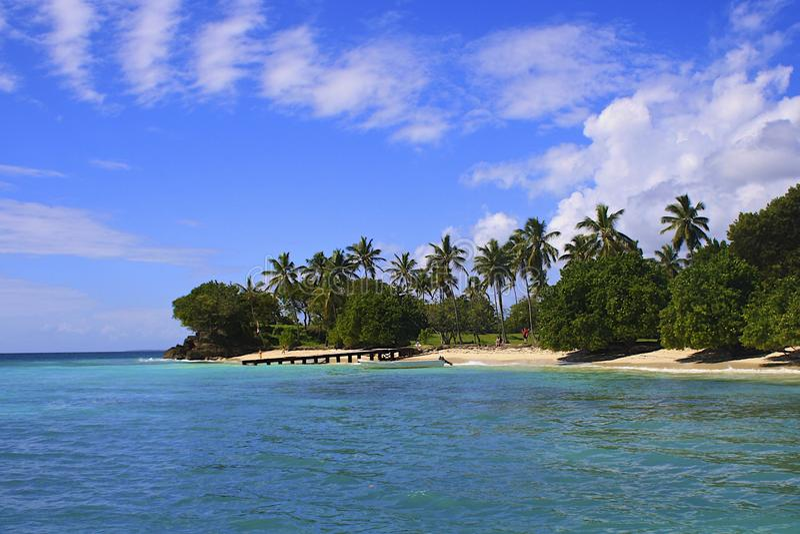 Caraïbisch strand, Samana-eiland, Dominicaanse republiek stock afbeeldingen