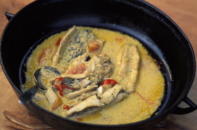 Caraïbisch voedsel: geroosterde vissen met kokosnoot stock fotografie