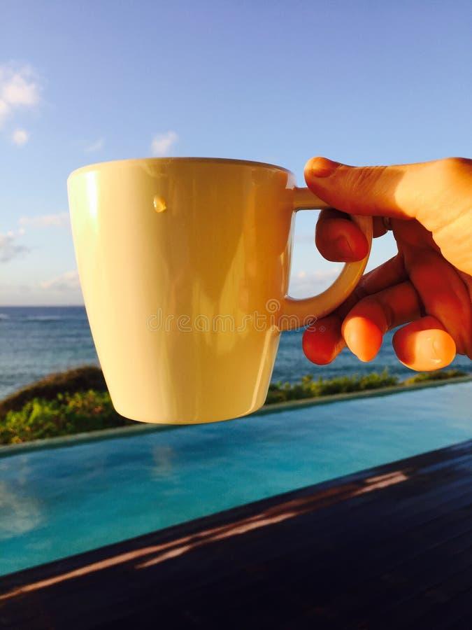 Caraïbische mok Koffie door Tropisch Zwembad, royalty-vrije stock afbeelding
