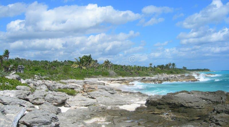 Caraïbische strandachtergrond met lavarotsen royalty-vrije stock afbeeldingen