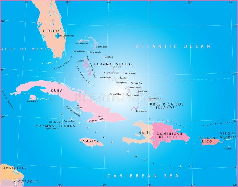 Caraïbische Zee. vector illustratie