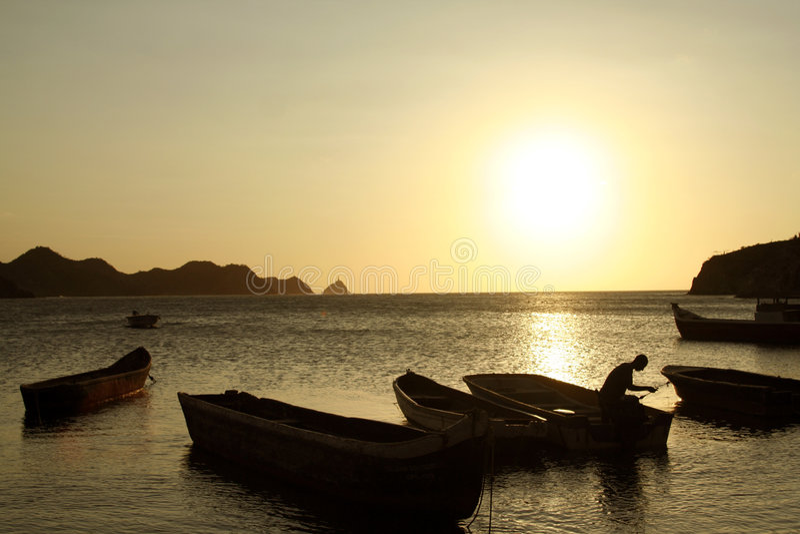 Caraïbische Zee. De Baai van Taganga. Colombia. stock afbeeldingen