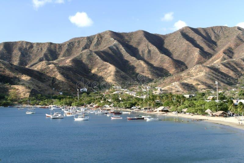 Caraïbische Zee. De Baai van Taganga. Colombia. stock afbeelding