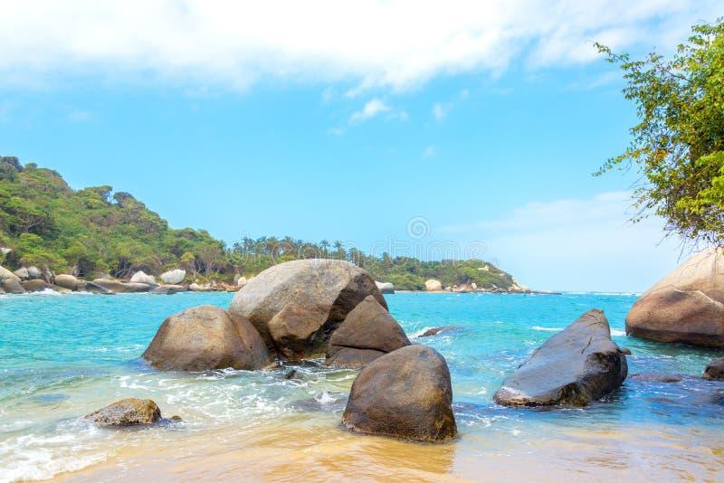 Caraïbische Zee en Rotsen royalty-vrije stock foto's
