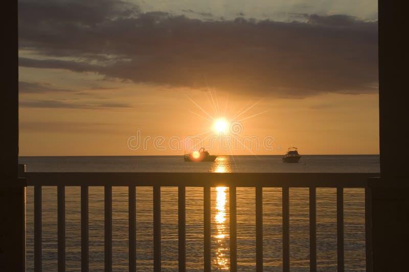 Caraïbische Zonsondergang stock afbeelding