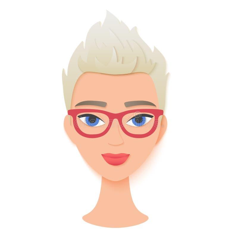 Cara à moda bonita da mulher com cabelo branco curto Retrato da menina papel na moda no estilo cuted Logotipo da forma e da belez ilustração royalty free
