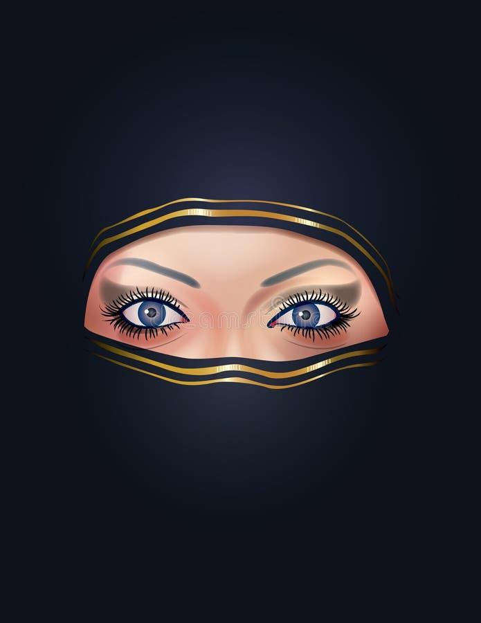Cara árabe de la mujer ilustración del vector