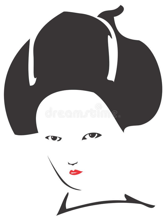 Cara 01 del geisha ilustración del vector
