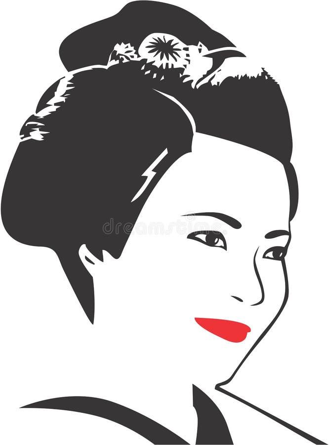 Cara 09 del geisha stock de ilustración