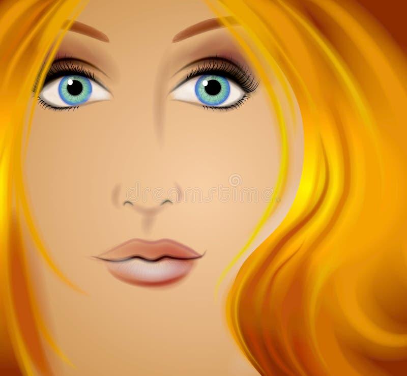 Cara 2 de la mujer del arte de la fantasía stock de ilustración