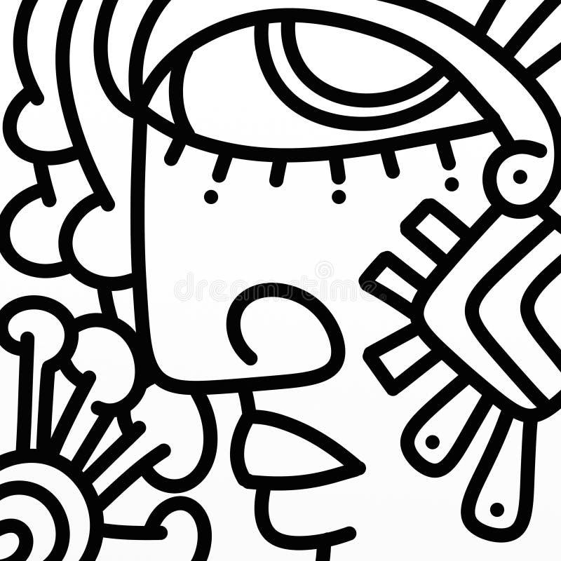 Cara abstracta adornada en blanco y negro stock de ilustración