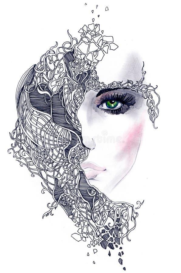 Cara abstracta de la mujer stock de ilustración