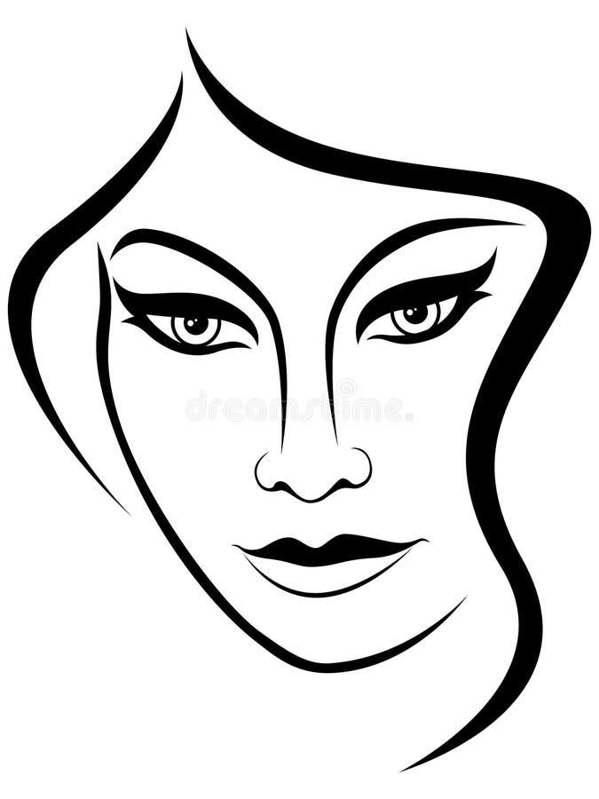 Cara abstrata da mulher atrativa ilustração do vetor
