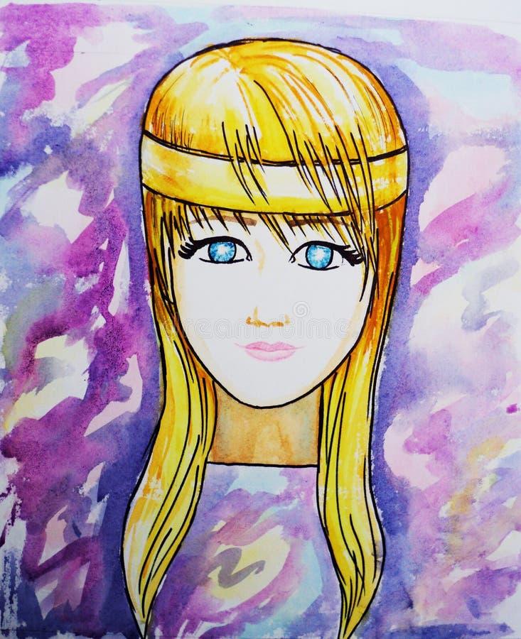 Cara abstrata da mulher Ilustração da aguarela ilustração do vetor