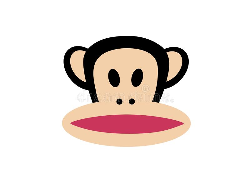 Cara abstrata do chimpanzé com boca cor-de-rosa ilustração stock