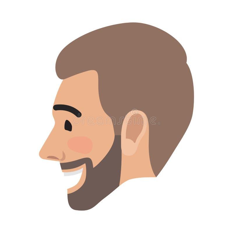 Cara acertada feliz del hombre de Avatar de la emoción Vector ilustración del vector