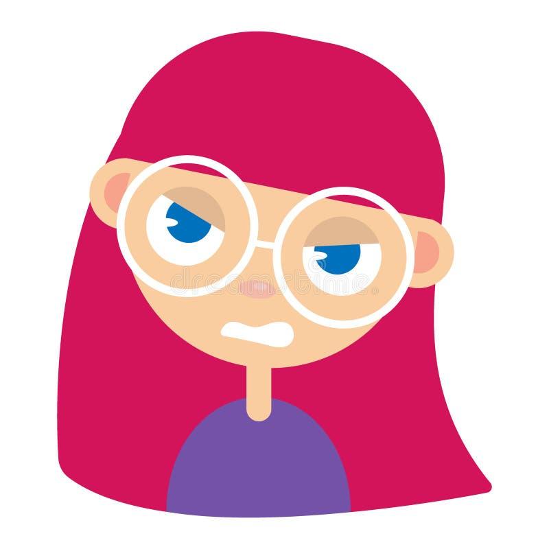 Cara adolescente da menina, expressão facial irritada, ilustrações do vetor dos desenhos animados A cara ruivo do emoji da menina ilustração royalty free