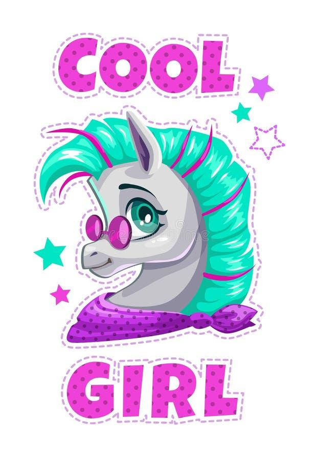 Cara adolescente de lujo del caballo ilustración del vector