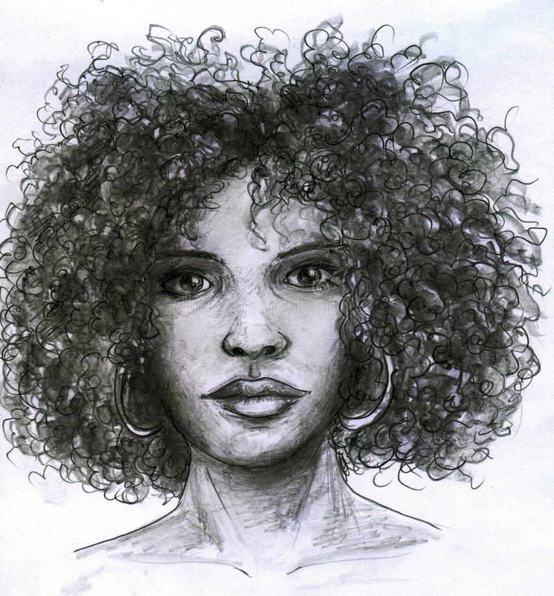 Cara africana de la muchacha ilustración del vector