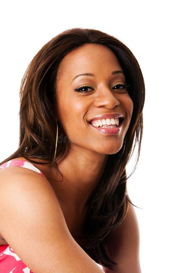Cara africana sonriente de la mujer imágenes de archivo libres de regalías