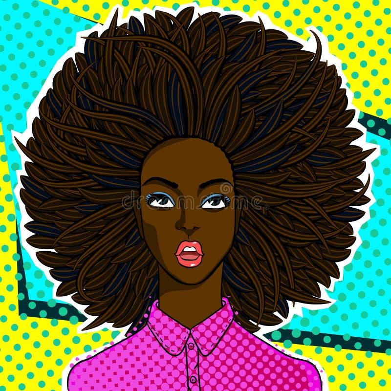 Cara afro-americano da mulher no estilo do pop art ilustração royalty free