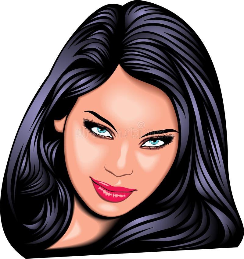 Cara agradable de la muchacha (mujer) de mi fantasía ilustración del vector