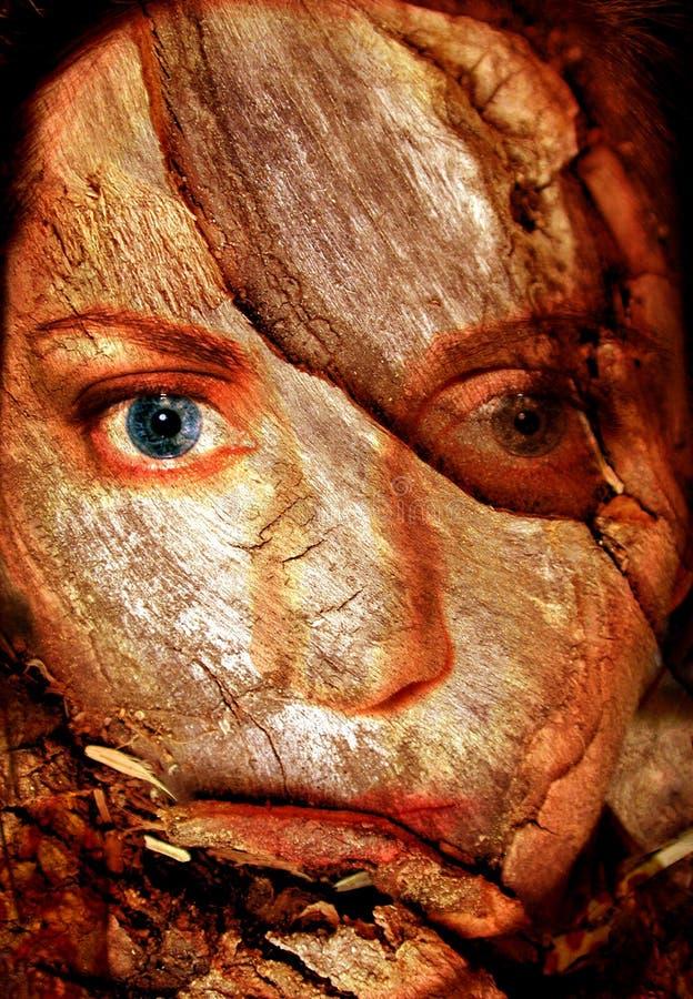 Cara agrietada de la mujer abstracta stock de ilustración