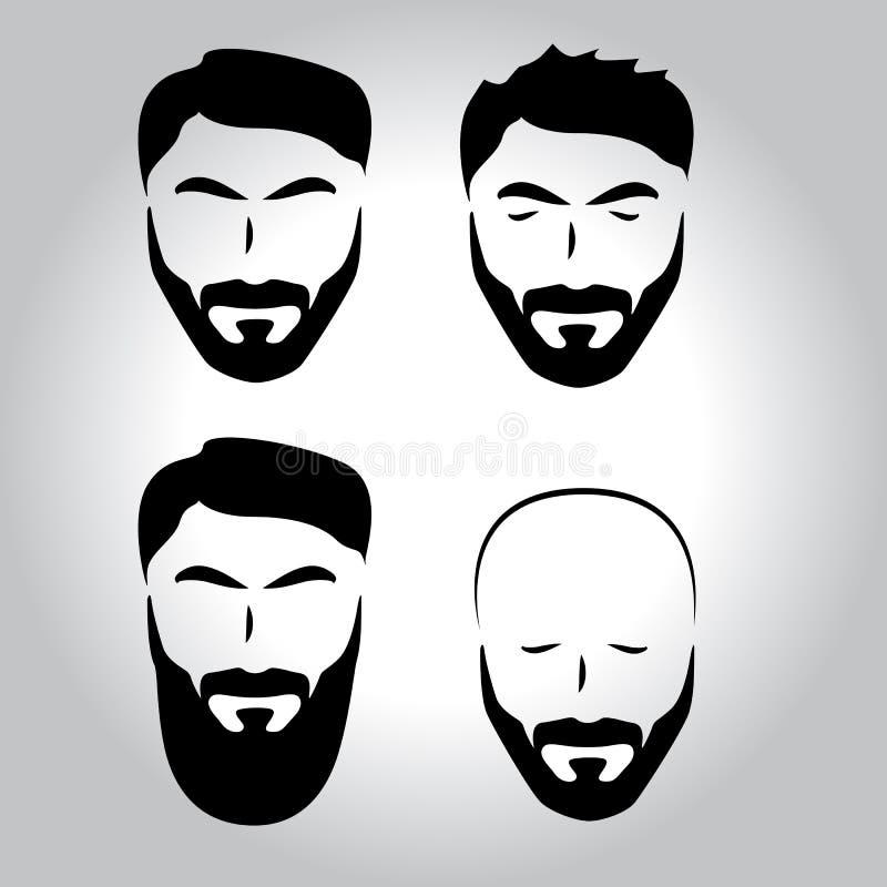 Cara aislada con el bigote, barba, sistema del logotipo del vector del pelo Emblema de la peluquería de caballeros de los hombres ilustración del vector
