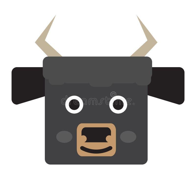 Cara aislada del toro stock de ilustración