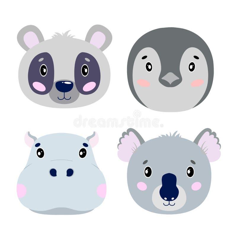 Cara ajustada dos animais do vetor dos desenhos animados, quatro objetos panda, coala, hipopótamo, pinguim ilustração stock