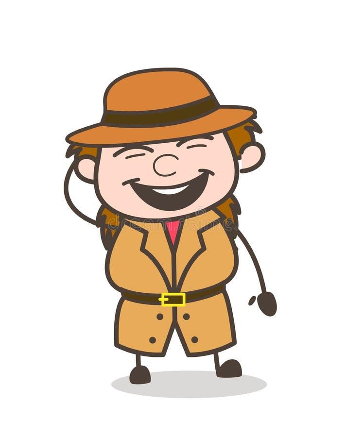 Cara alegre - cientista fêmea Cartoon Vetora do explorador ilustração royalty free