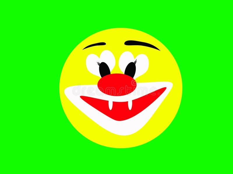 Cara amarela de riso redonda de um palhaço alegre em um fundo verde imagem de stock royalty free