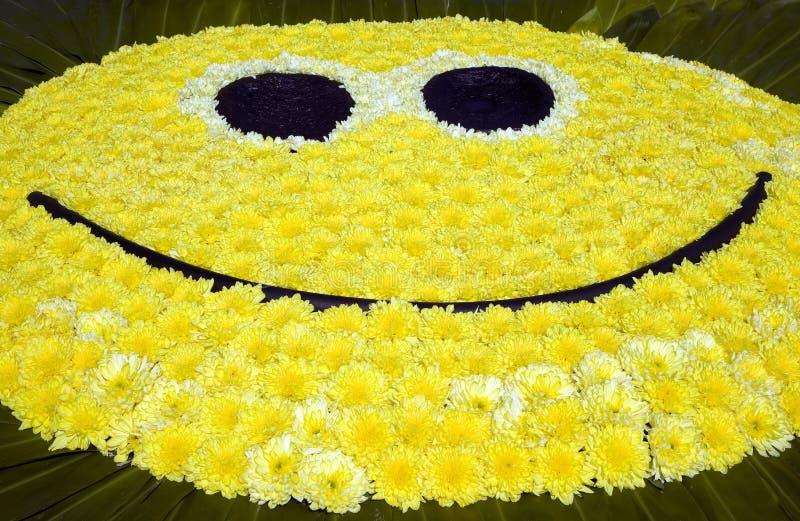 Cara amarilla grande de la sonrisa imagenes de archivo